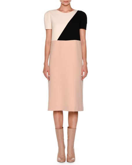 Colorblock Short-Sleeve Shift Dress, Nude/White/Black