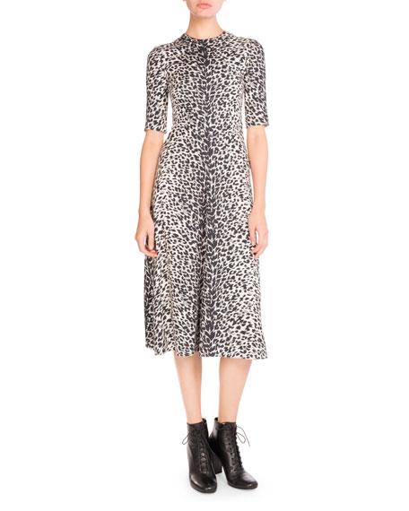 Leopard-Print Half-Sleeve Midi Dress, Multi
