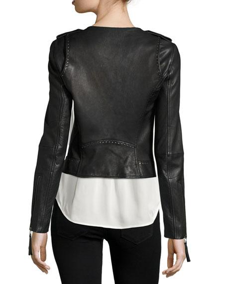 Margolin Studded Leather Moto Jacket, Black Buy
