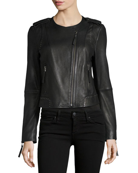 Margolin Studded Leather Moto Jacket, Black Buy