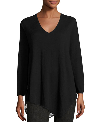 Tambrel Lace-Back Asymmetric Sweater, Black