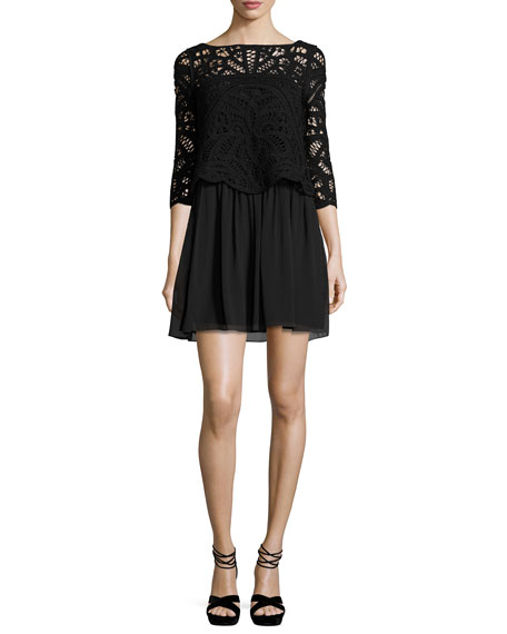 Joie Joie Lace-Top 3/4-Sleeve Dress, Black