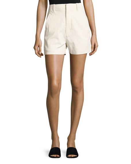 Vince High-Waist Stretch-Cotton Shorts