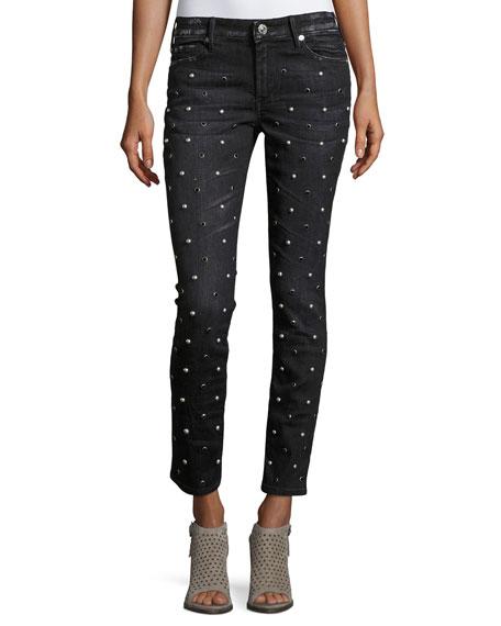 True Religion Halle Embellished Mid-Rise Super Skinny Jeans,