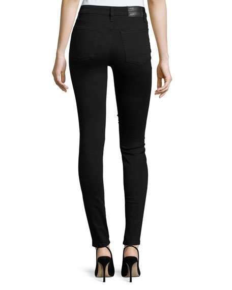 The Charlie High-Rise Skinny Jeans w/Lace, Black