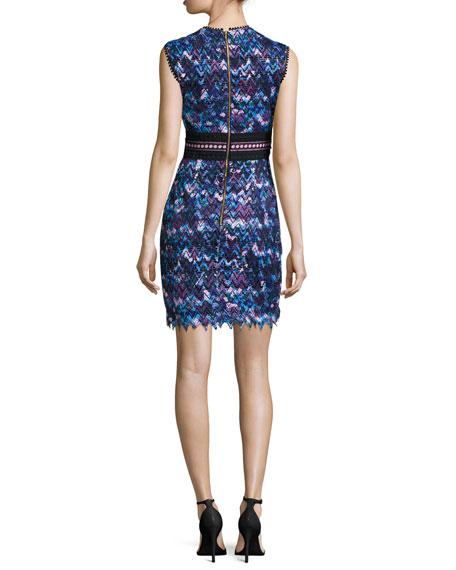 Trudi Sleeveless Chevron Lace Cocktail Dress, Blue Multicolor