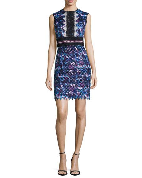 Saloni Trudi Sleeveless Chevron Lace Cocktail Dress, Blue