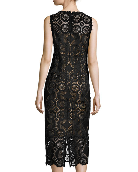 Sleeveless Medallion Lace Midi Dress, Black