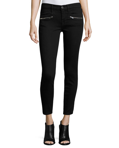 (B)Air Ankle Skinny Jeans w/Zip Pockets, Black