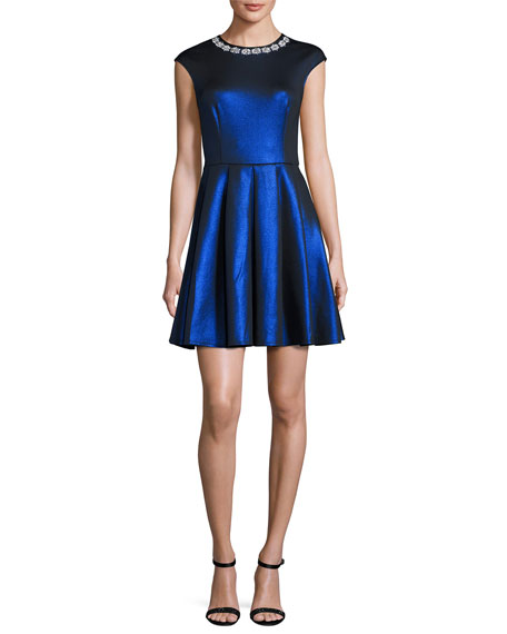 Ayma Embellished Skater Dress, Medium Blue