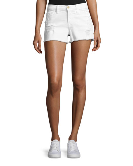 FRAME Le Cut Off Denim Shorts, Blanc Taffs