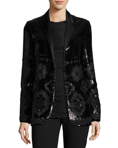 Tess Geometric-Beaded Tuxedo Jacket, Black Buy