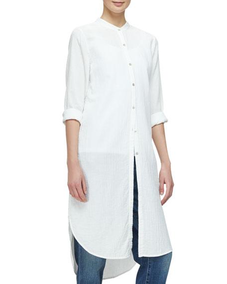 Eileen Fisher Mandarin-Collar Calf-Length Shirt, Black, Petite
