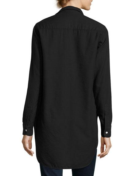 Grayson Brushed Italian Twill Shirt, Black