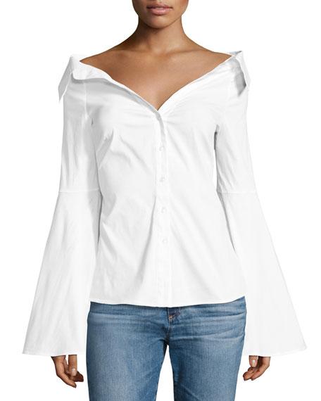 Caroline Constas Persephone Décolleté Shirt, White