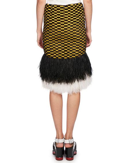 Ostrich-Hem Check Skirt, Multi