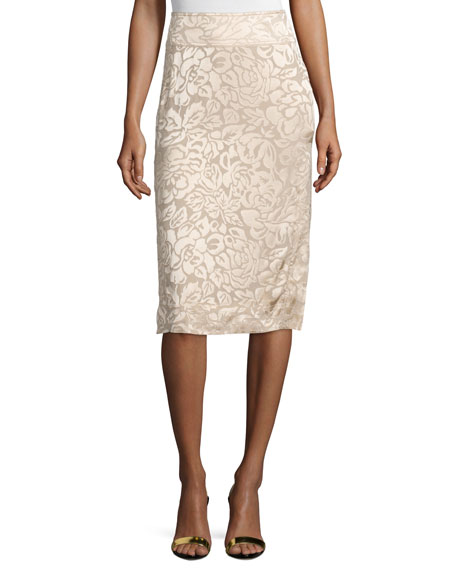 Donna Karan Floral-Embroidered Pencil Skirt, Parchment