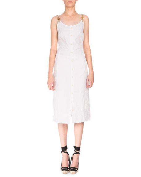 Isar Sleeveless Button-Front Dress, Optic White