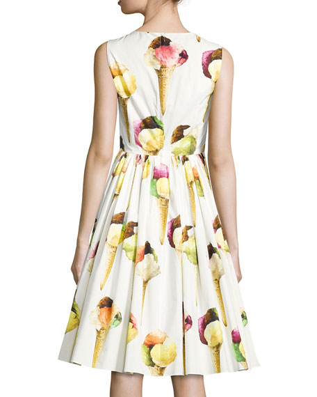 Sleeveless Ice Cream Poplin Dress, White