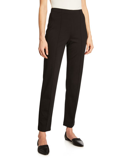 Ponte Cropped Pull-On Pants, Black