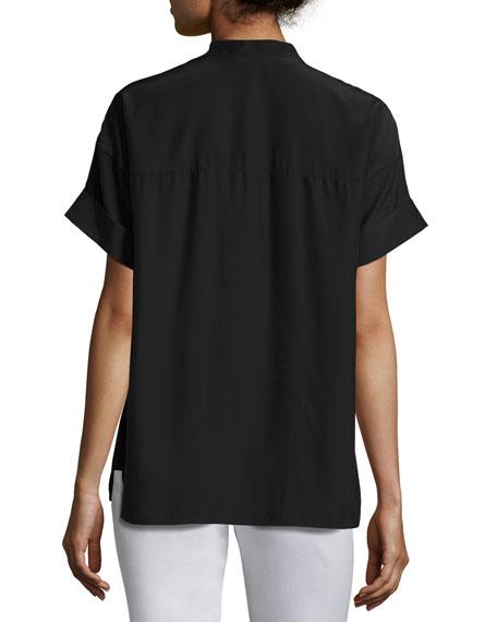 Short-Sleeve Candra Matte Silk Blouse
