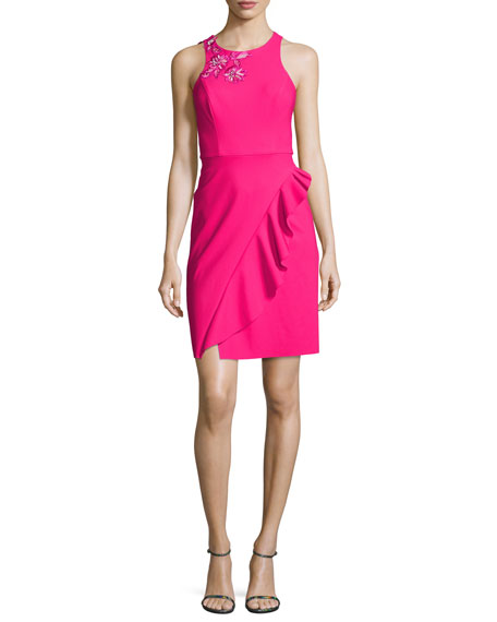 Marchesa Notte Sleeveless Embroidered Ponte Cocktail Dress, Pink