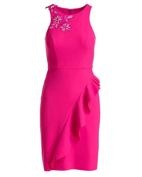 Sleeveless Embroidered Ponte Cocktail Dress, Pink