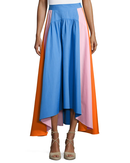 pilotto flowy colorblock poplin midi skirt multi