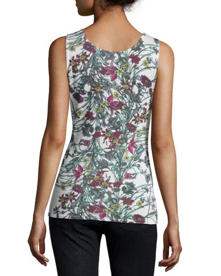 Superfine Floral-Print Cashmere Tank