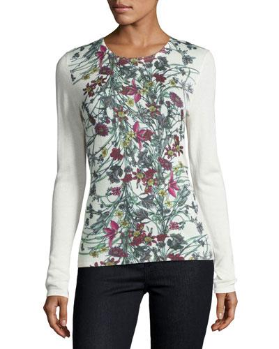 Superfine Floral-Print Cashmere Crewneck Top