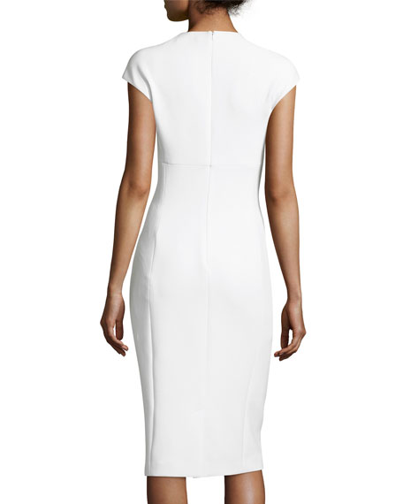 Janelle Crepe Keyhole Cap-Sleeve Sheath Dress, Cream