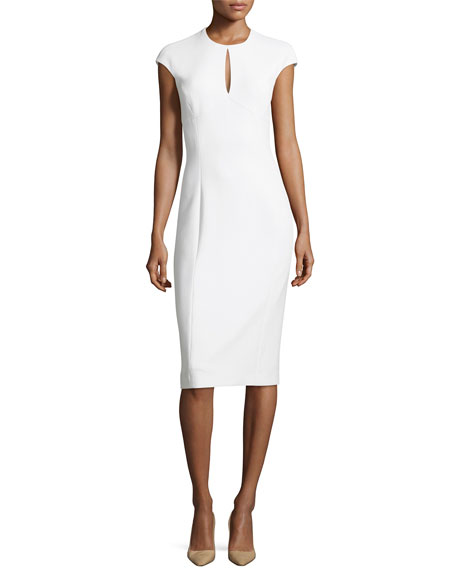 Ralph Lauren Collection Janelle Crepe Keyhole Cap-Sleeve Sheath ...