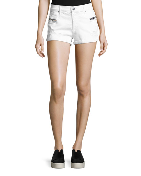 RtA Vincent Zip-Pocket Denim Shorts, Pure/White
