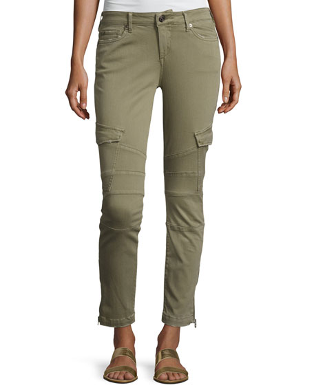 True Religion Halle Cropped Skinny Cargo Pants, Burnt