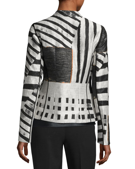 Linette Zip-Front Lanai Jacquard Jacket, Multi Pattern