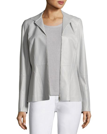 Kat Zip-Front Tissue-Weight Lambskin Jacket, Light Gray