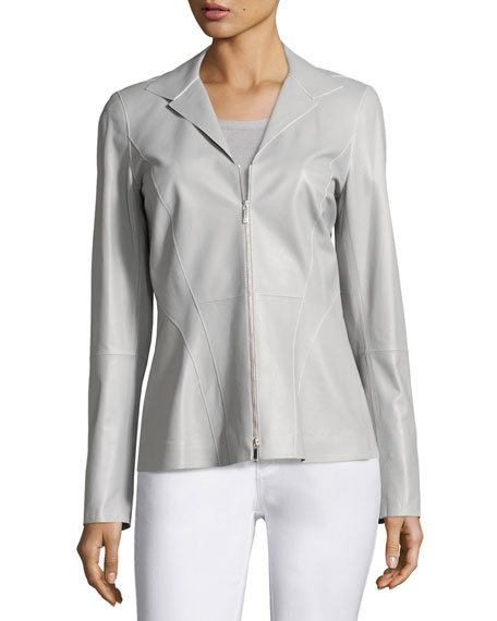 Kat Zip-Front Tissue-Weight Lambskin Jacket, Light Gray