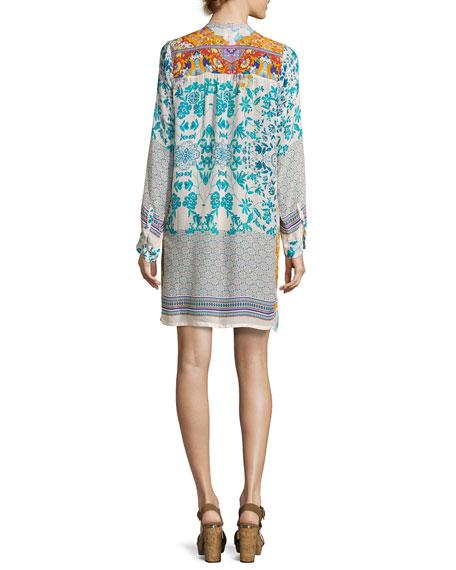 Ellyonora Half-Placket Floral Georgette Dress, Multi