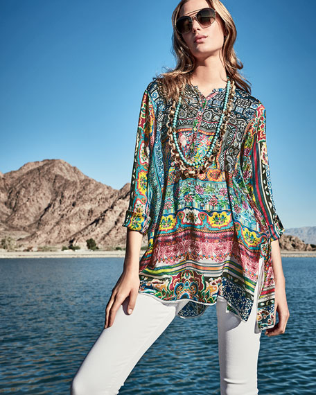 Frame Silk-Georgette Print Tunic, Multi, Plus Size