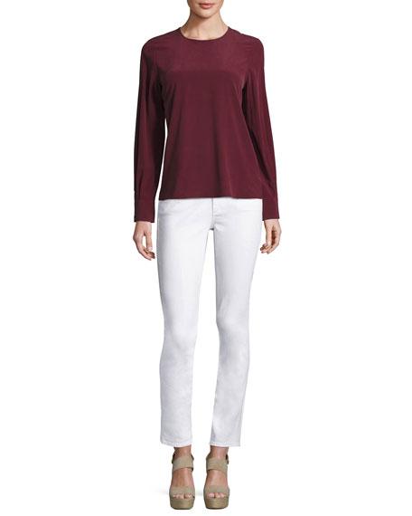 Prima Mid-Rise Cigarette Jeans, White