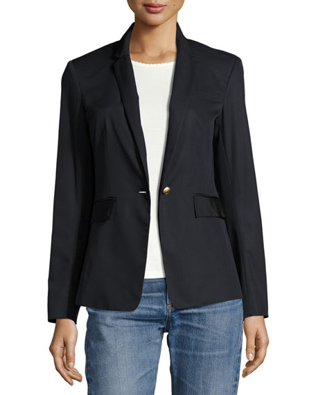 Rag & Bone Windsor Single-Button Cotton Blazer, Navy