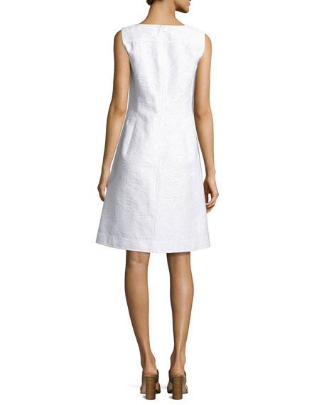Jojo Sleeveless Fragmented Jacquard Dress, White