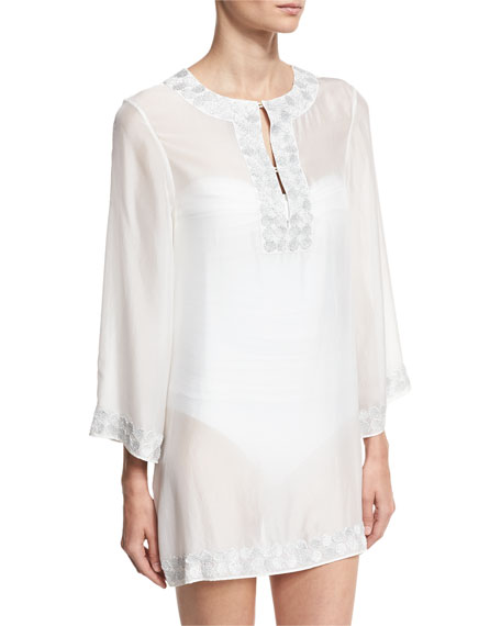 Marie France Van Damme Embroidered Bell-Sleeve Silk Chiffon