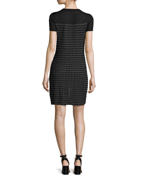 Gwen Short-Sleeve Sweater Dress, Black