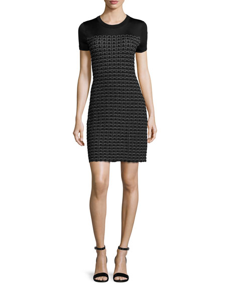 Rag & Bone Gwen Short-Sleeve Sweater Dress, Black