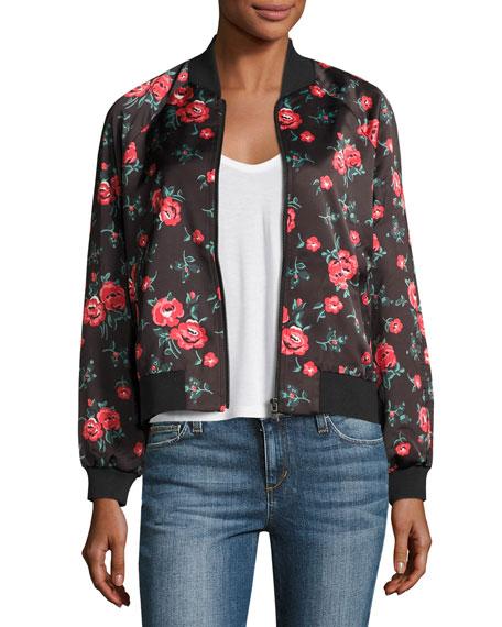 Elsie Watercolor Floral Bomber Jacket, Indigo
