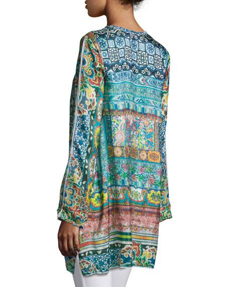 Frame Printed Silk Georgette Tunic, Multi