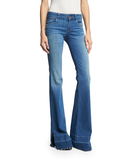 J Brand Love Story Flare-Leg Side-Slit Jeans with