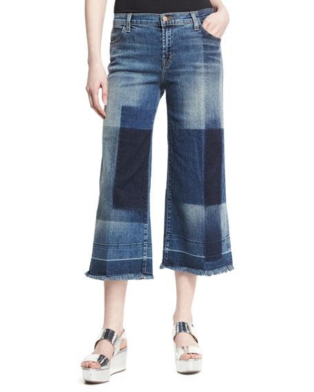 J Brand Liza Mid-Rise Cropped Culottes, Blue