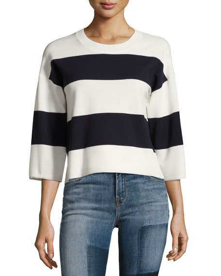 J Brand Estero Striped Merino Wool 3/4-Sleeve Sweater,